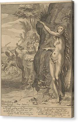 Perseus And Andromeda Canvas Print by Willem Isaacsz. Van Swanenburg And Petrus Scriverius And Johannes Janssonius