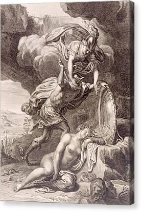Perseus Cuts Off Medusa's Head Canvas Print by Bernard Picart