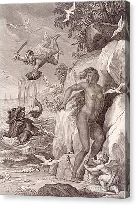 Perseus Delivers Andromeda From The Sea Monster Canvas Print by Bernard Picart