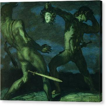 Perseus Turns Phineus To Stone By Brandishing The Head Of Medusa Canvas Print by Franz von Stuck