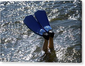Person In Water With Swimfins Canvas Print by Keith Levit