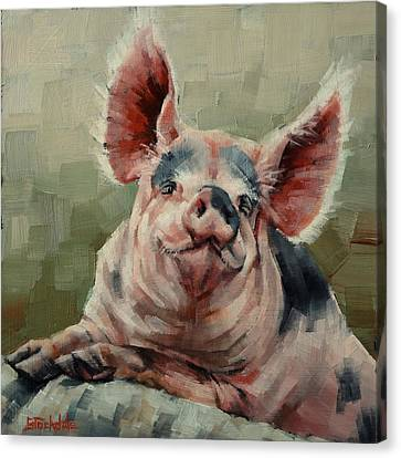 Personality Pig Canvas Print by Margaret Stockdale