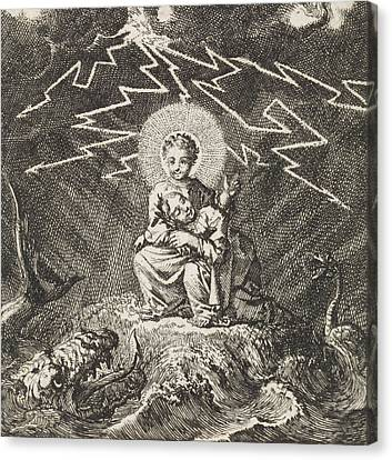Personified Soul Asleep In Christs Lap During Storm Canvas Print by Jan Luyken