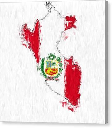 Peru Painted Flag Map Canvas Print by Antony McAulay