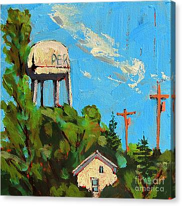 Peru Water Tower On 9th Canvas Print by Charlie Spear