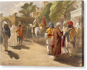 Urban Scenes Canvas Print - Peshawar Market Scene, From India by William 'Crimea' Simpson