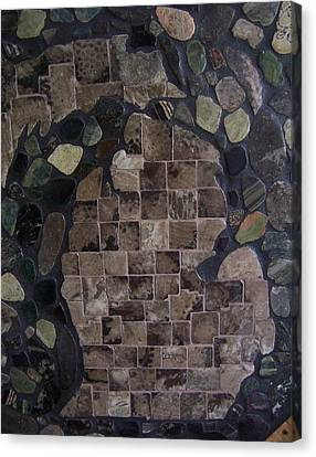 Pestoskey Stone Michigan Map Canvas Print