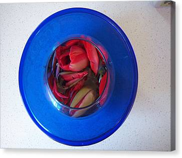 Canvas Print featuring the photograph Petals In Vase In Vase by Conor Murphy