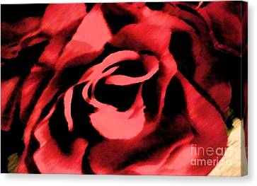 Rose Patterned Curtains Canvas Print - Petals Of Velvetty Red by Catherine Lott