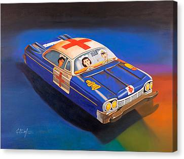 Toy Car Canvas Print - Pete And Harriet Ride Again by Karl Melton