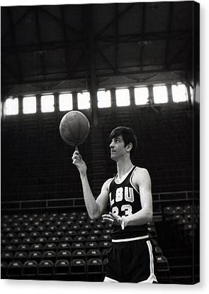 Pistol Canvas Print - Pete Maravich Spinning Ball On Finger by Retro Images Archive