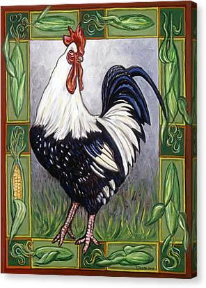 Corn Canvas Print - Pete The Rooster by Linda Mears