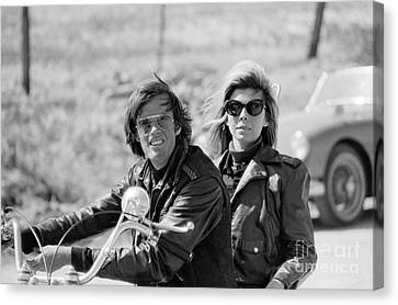 Peter Fonda And Nancy Sinatra On A Motorcycle Canvas Print