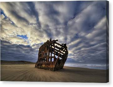Water Vessels Canvas Print - Peter Iredale Shipwreck Sunrise by Mark Kiver