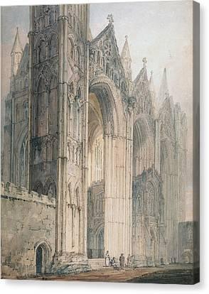 Peterborough Cathedral Canvas Print by Thomas Girtin