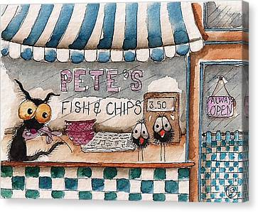 Pete's Fish And Chips Canvas Print by Lucia Stewart