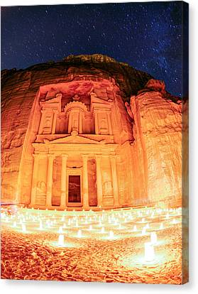 Petra By Night Canvas Print by Alexey Stiop