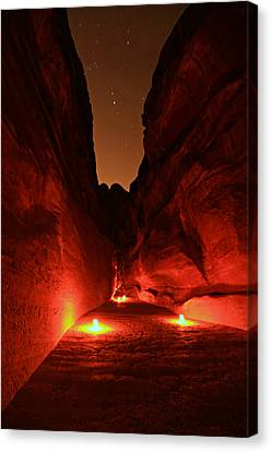 Petra Night Walk Canvas Print by Stephen Stookey