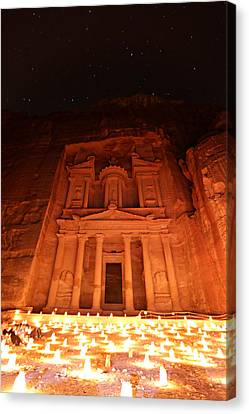 Petra Treasury At Night Canvas Print by Stephen Stookey