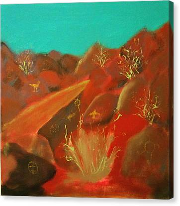 Canvas Print featuring the painting Petroglyph Park by Keith Thue