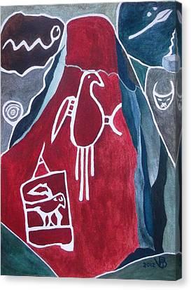 Petroglyph Parrot Canvas Print