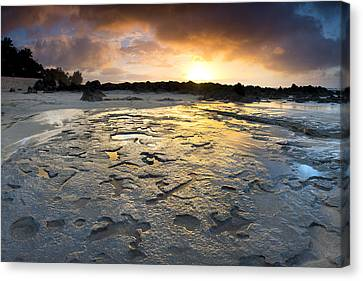 Petroglyphic Sunset Canvas Print by Sean Davey