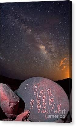 Hoggar Canvas Print - Petroglyphs And Milky Way, Sahara Desert by Babak Tafreshi