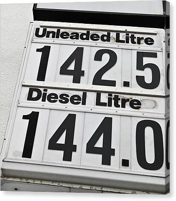 Petrol Prices Canvas Print by Tom Gowanlock