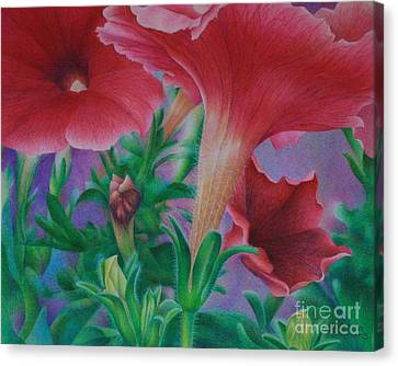 Canvas Print featuring the painting Petunia Skies by Pamela Clements