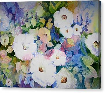 Petunias In White Canvas Print