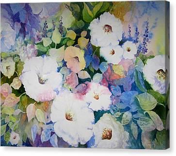 Petunias In White Canvas Print