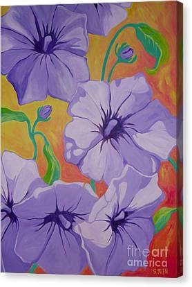 Petunias Canvas Print by Sandra Yuen MacKay