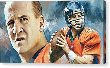 Peyton Manning Artwork Canvas Print by Sheraz A