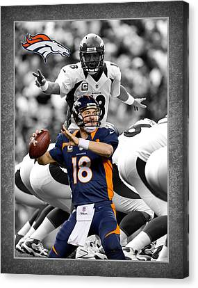 Football Canvas Print - Peyton Manning Broncos by Joe Hamilton