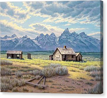 Pfeiffer Homestead-tetons Canvas Print by Paul Krapf