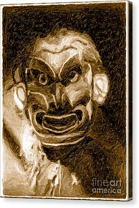 Canvas Print featuring the mixed media Pgwis Qaguhl In Sepia by Edward S Curtis