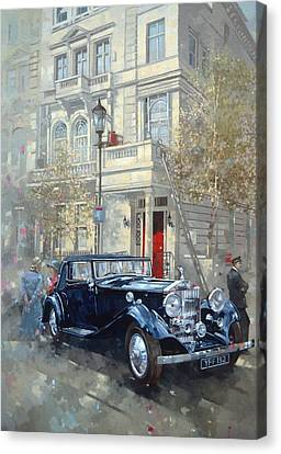 Phantom II Into Queens Gate Mews Oil On Canvas Canvas Print by Peter Miller