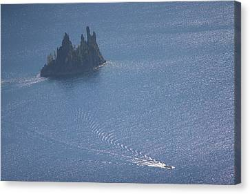 Phantom Ship In Crater Lake In Crater Canvas Print