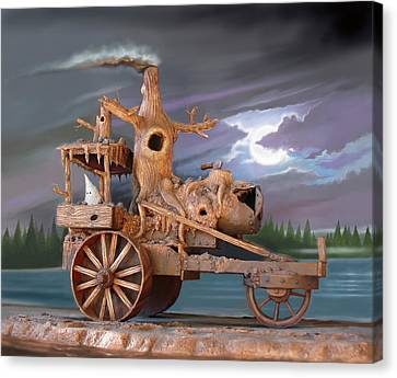 Phantom Steam Tractor Canvas Print by Stuart Swartz