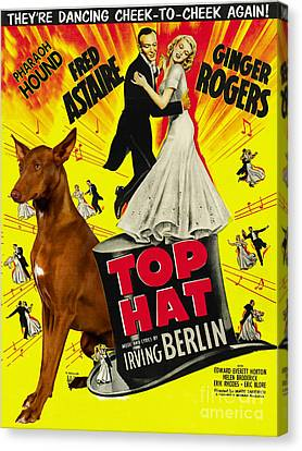 Pharaoh Hound Art Canvas Print - Top Hat Movie Poster Canvas Print by Sandra Sij