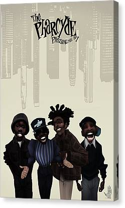Canvas Print featuring the drawing Pharcyde -passing Me By 1 by Nelson dedos Garcia