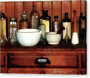 Pharmacist - Cabinet With Mortar And Pestles Canvas Print