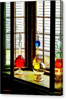 Pharmacist - Colorful Bottles In Drug Store Window Canvas Print by Susan Savad