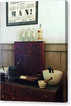 Pharmacist - Desk With Mortar And Pestles Canvas Print