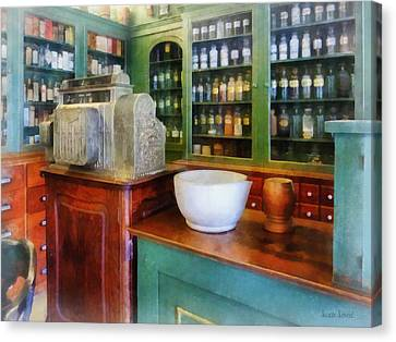 Medicine Canvas Print - Pharmacist - Mortar And Pestle In Pharmacy by Susan Savad