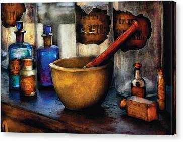 Glass Canvas Print - Pharmacist - Mortar And Pestle by Mike Savad