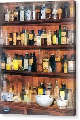 Pharmacist - Mortar Pestles And Medicine Bottles Canvas Print