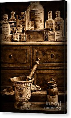 Pharmacist  Old Medicine In Black And White Canvas Print by Paul Ward