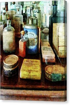 Pharmacy - Cough Remedies And Tooth Powder Canvas Print by Susan Savad