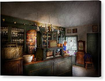 Suburbanscenes Canvas Print - Pharmacy - Morning Preparations by Mike Savad